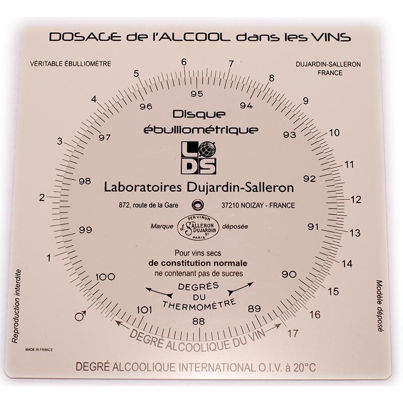 Ebulliometer calculation disc for calculating results   Winemaking testing and supplies