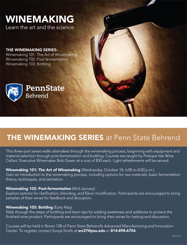 Winemaking Classes at Penn State Behrend